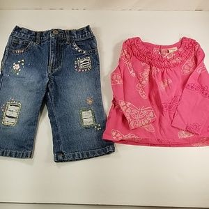 girls old navy top and Jean's size 6-12m
